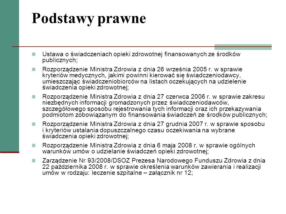Podstawy prawne Ustawa o świadczeniach opieki zdrowotnej finansowanych ze środków publicznych; Rozporządzenie Ministra Zdrowia z dnia 26 września 2005