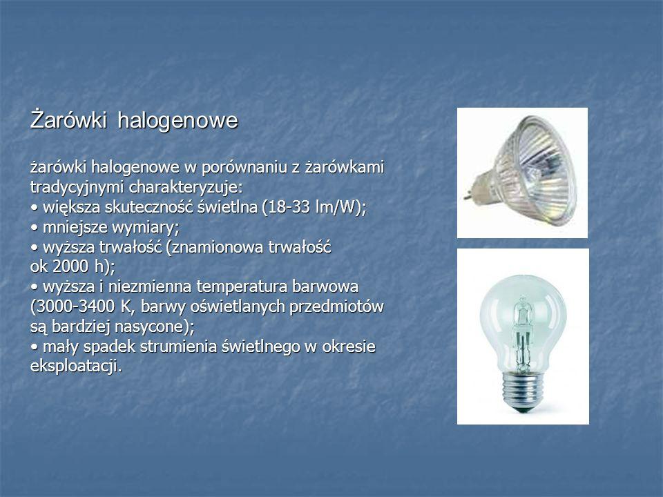 Żarówki halogenowe żarówki halogenowe w porównaniu z żarówkami tradycyjnymi charakteryzuje: większa skuteczność świetlna (18-33 lm/W); większa skutecz