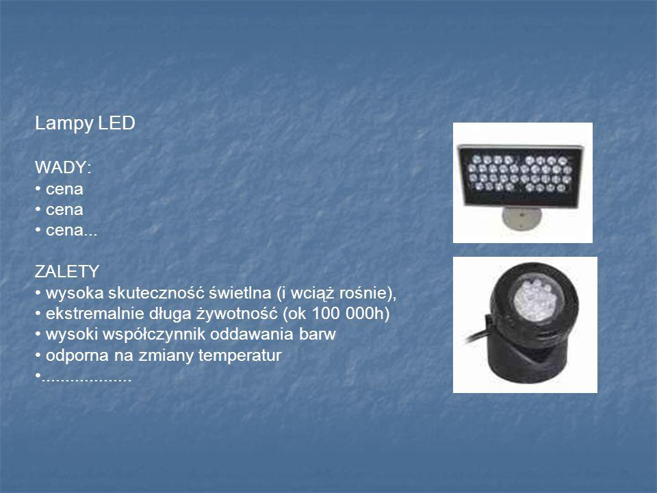 Lampy LED WADY: cena cena... ZALETY wysoka skuteczność świetlna (i wciąż rośnie), ekstremalnie długa żywotność (ok 100 000h) wysoki współczynnik oddaw