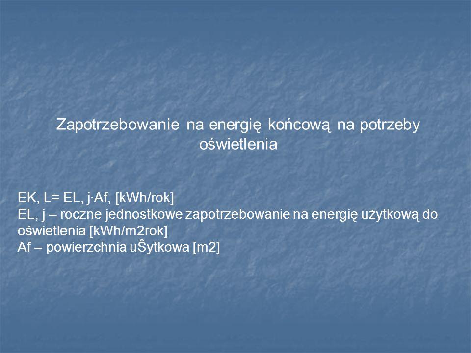 Zapotrzebowanie na energię końcową na potrzeby oświetlenia EK, L= EL, j·Af, [kWh/rok] EL, j – roczne jednostkowe zapotrzebowanie na energię użytkową d