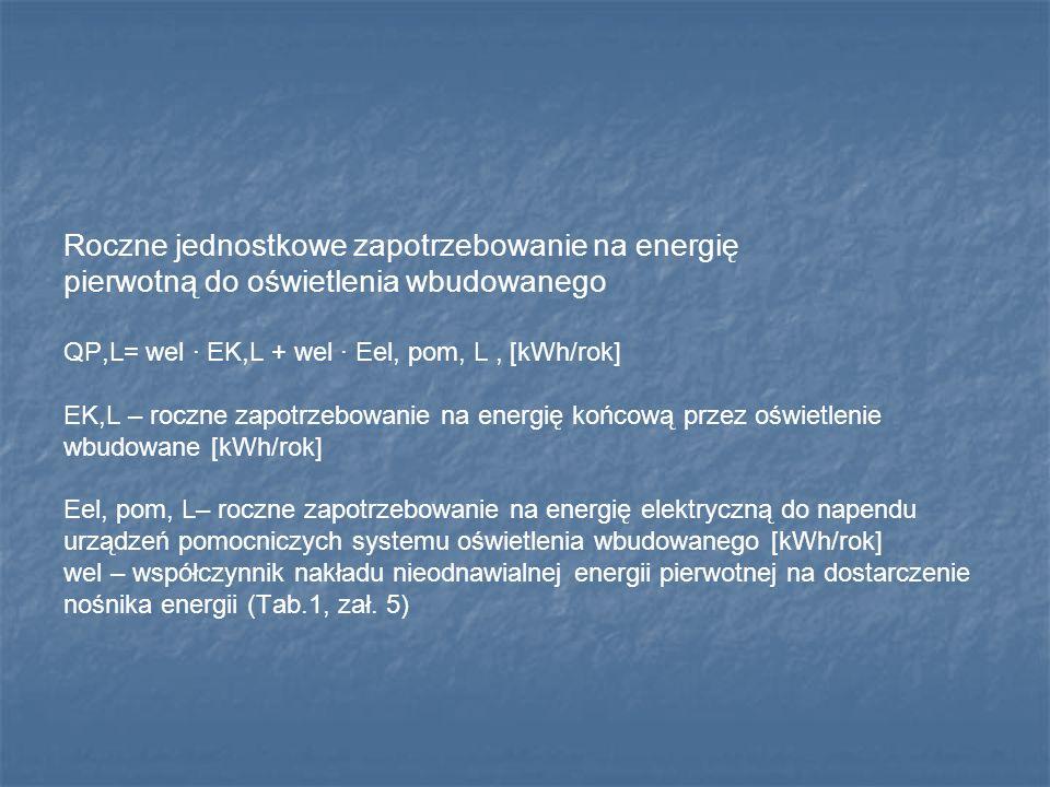 Roczne jednostkowe zapotrzebowanie na energię pierwotną do oświetlenia wbudowanego QP,L= wel · EK,L + wel · Eel, pom, L, [kWh/rok] EK,L – roczne zapot