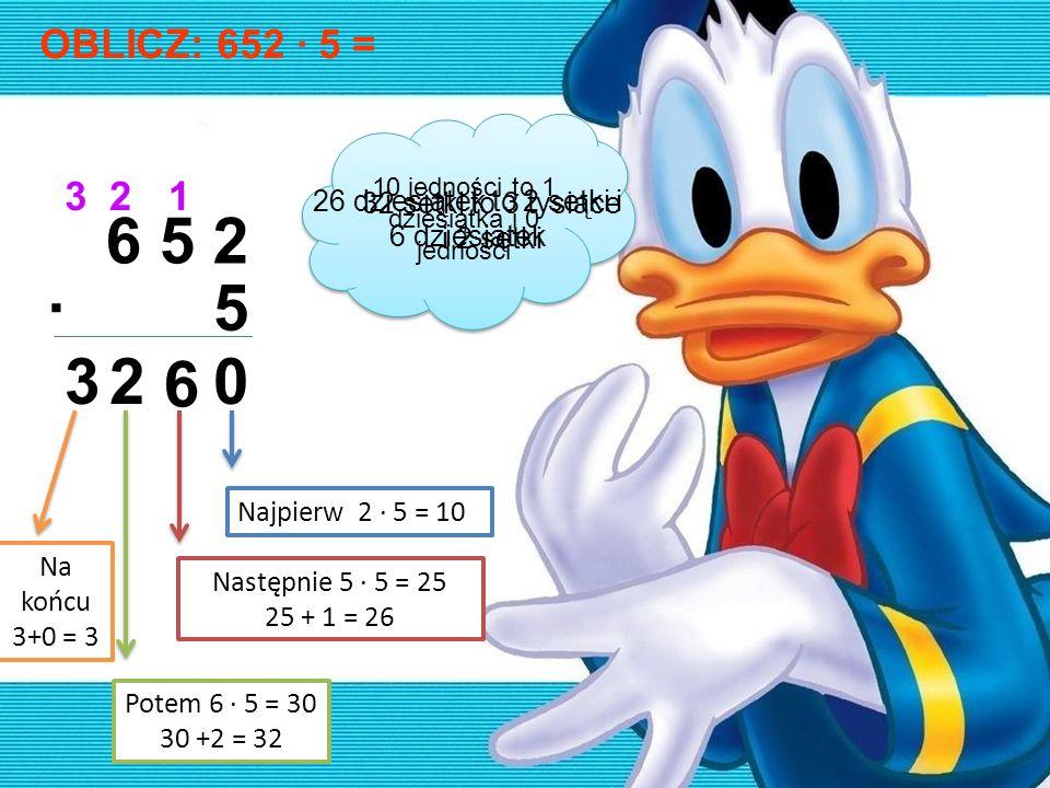 OBLICZ: 652 · 5 = 6 5 2 ·5 0 1 6 2 23 3 Najpierw 2 · 5 = 10 Następnie 5 · 5 = 25 25 + 1 = 26 Potem 6 · 5 = 30 30 +2 = 32 10 jedności to 1 dziesiątka i