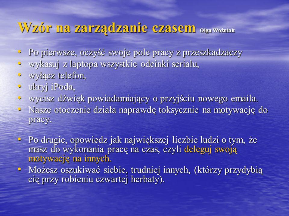 Wzór na zarządzanie czasem Olga Woźniak Po pierwsze, oczyść swoje pole pracy z przeszkadzaczy Po pierwsze, oczyść swoje pole pracy z przeszkadzaczy wy