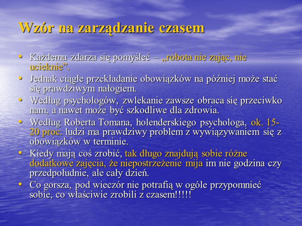 Wzór na zarządzanie czasem Olga Woźniak A może to wcale nie wina charakterów ludzi, ale właśnie tych rzeczy, które trzeba wykonać.