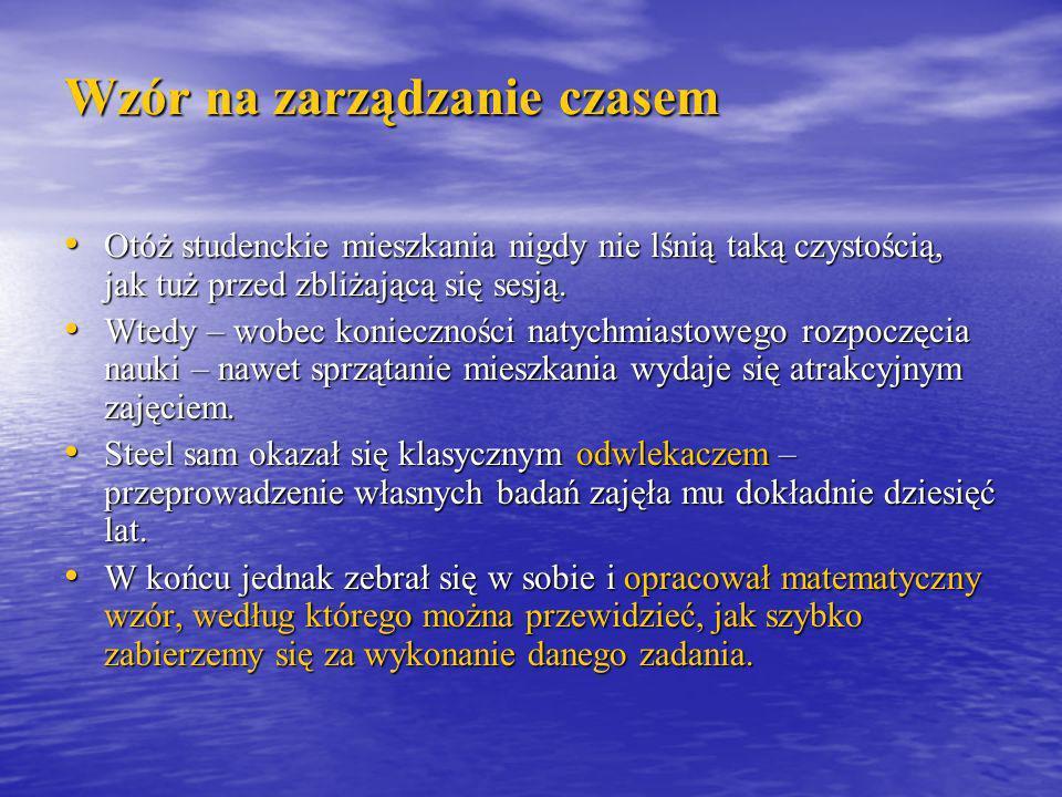 Wzór na zarządzanie czasem Olga Woźniak Dziel zadania do wykonania na małe części.