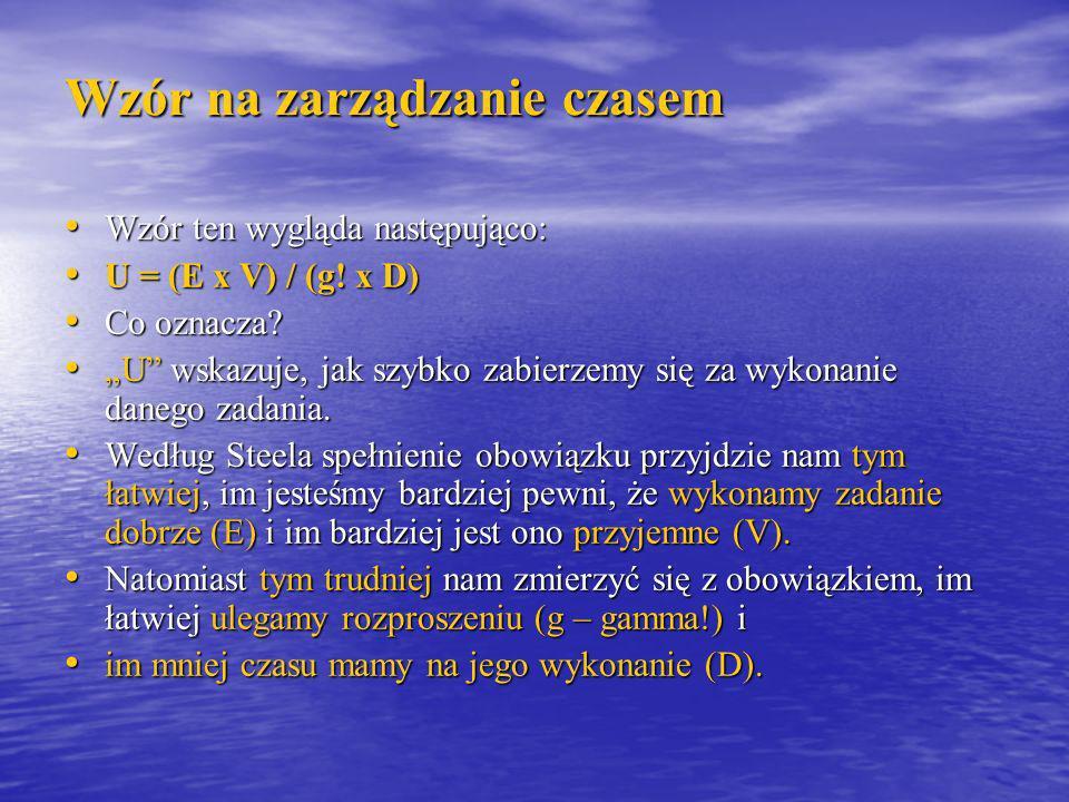 Wzór na zarządzanie czasem Wzór ten wygląda następująco: Wzór ten wygląda następująco: U = (E x V) / (g! x D) U = (E x V) / (g! x D) Co oznacza? Co oz