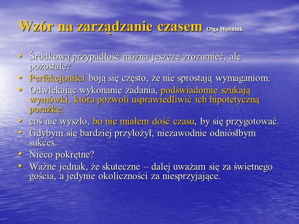 Wzór na zarządzanie czasem Olga Woźniak A teraz lęk przed sukcesem: rozumiem, że można bać się porażki, ale lękać się tego, że coś się uda.