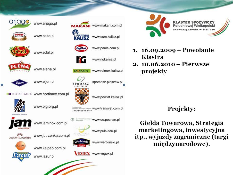 1.16.09.2009 – Powołanie Klastra 2.10.06.2010 – Pierwsze projekty Projekty: Giełda Towarowa, Strategia marketingowa, inwestycyjna itp., wyjazdy zagran