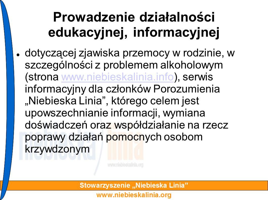 Prowadzenie działalności edukacyjnej, informacyjnej dotyczącej zjawiska przemocy w rodzinie, w szczególności z problemem alkoholowym (strona www.niebi