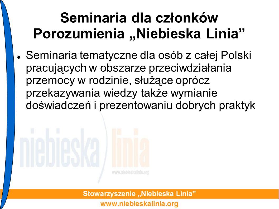 Seminaria dla członków Porozumienia Niebieska Linia Seminaria tematyczne dla osób z całej Polski pracujących w obszarze przeciwdziałania przemocy w ro