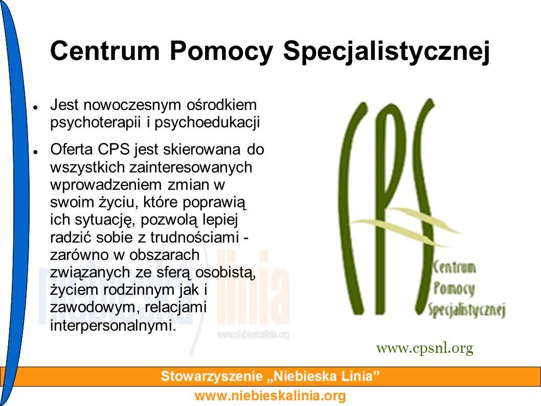 Centrum Pomocy Specjalistycznej Jest nowoczesnym ośrodkiem psychoterapii i psychoedukacji Oferta CPS jest skierowana do wszystkich zainteresowanych wp