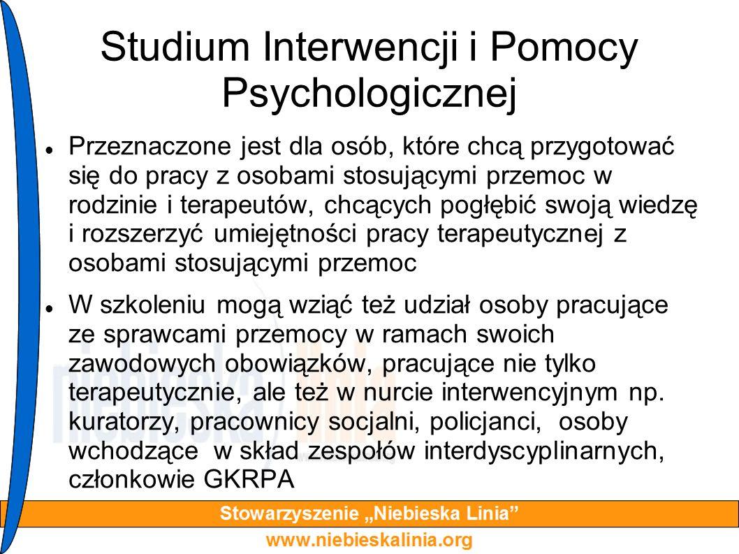 Studium Interwencji i Pomocy Psychologicznej Przeznaczone jest dla osób, które chcą przygotować się do pracy z osobami stosującymi przemoc w rodzinie