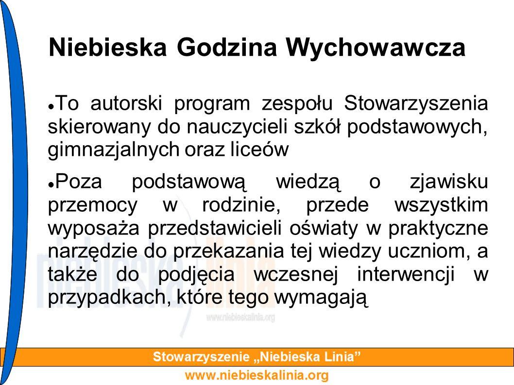 Niebieska Godzina Wychowawcza To autorski program zespołu Stowarzyszenia skierowany do nauczycieli szkół podstawowych, gimnazjalnych oraz liceów Poza