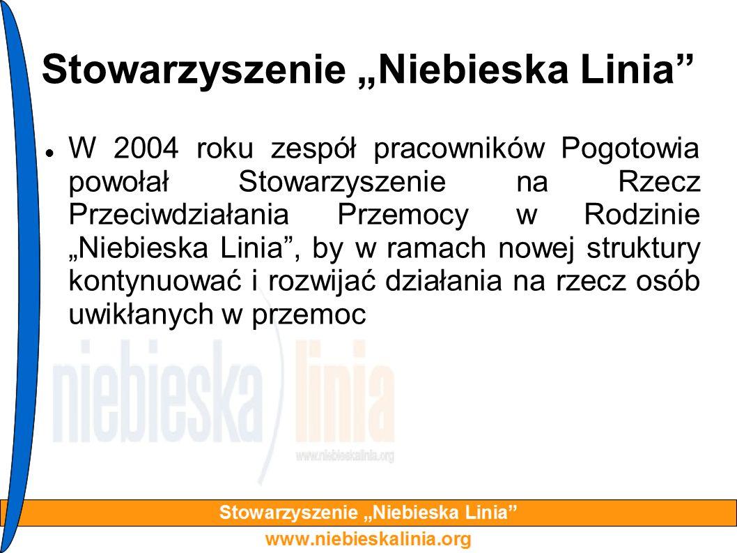 Stowarzyszenie Niebieska Linia W 2004 roku zespół pracowników Pogotowia powołał Stowarzyszenie na Rzecz Przeciwdziałania Przemocy w Rodzinie Niebieska