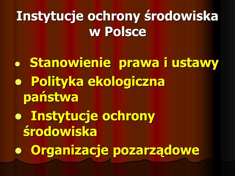 Instytucje ochrony środowiska w Polsce Stanowienie prawa i ustawy Stanowienie prawa i ustawy Polityka ekologiczna państwa Polityka ekologiczna państwa