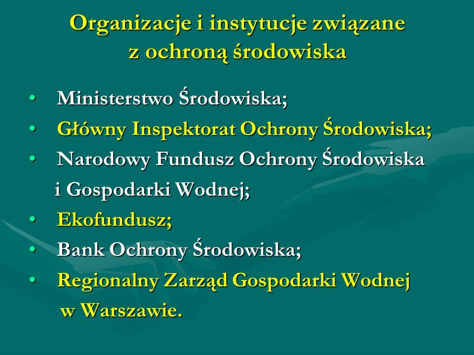 Organizacje i instytucje związane z ochroną środowiska Ministerstwo Środowiska; Ministerstwo Środowiska; Główny Inspektorat Ochrony Środowiska; Główny