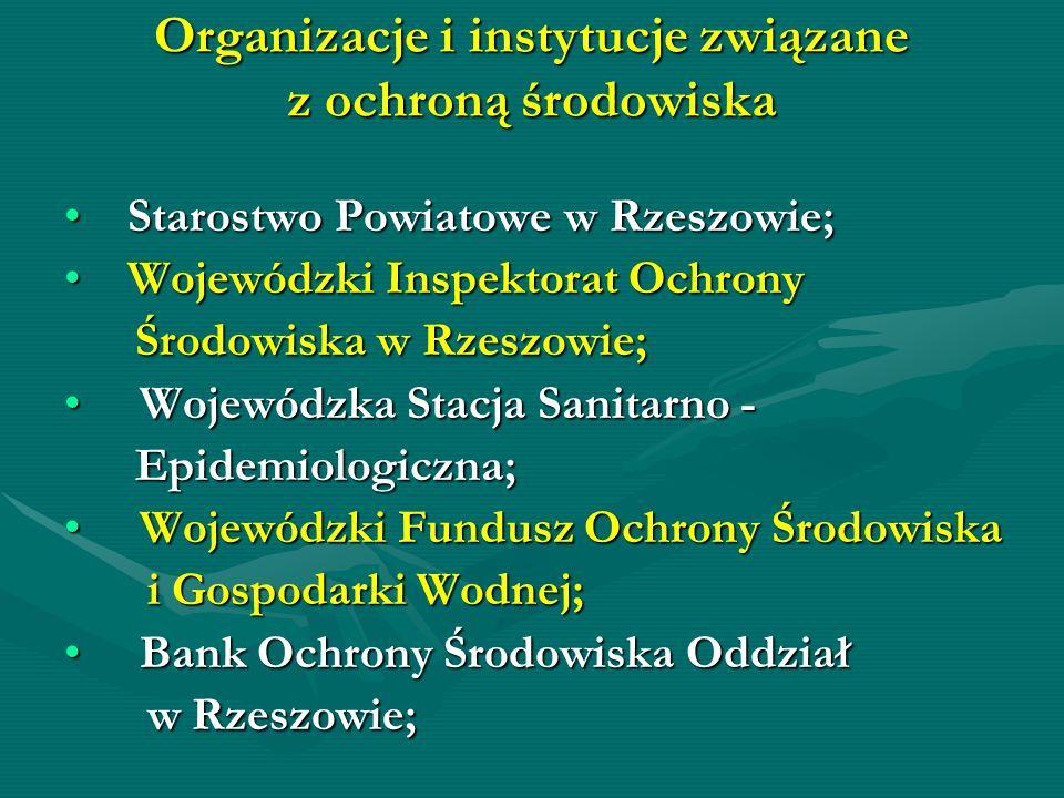 Organizacje i instytucje związane z ochroną środowiska Starostwo Powiatowe w Rzeszowie; Starostwo Powiatowe w Rzeszowie; Wojewódzki Inspektorat Ochron