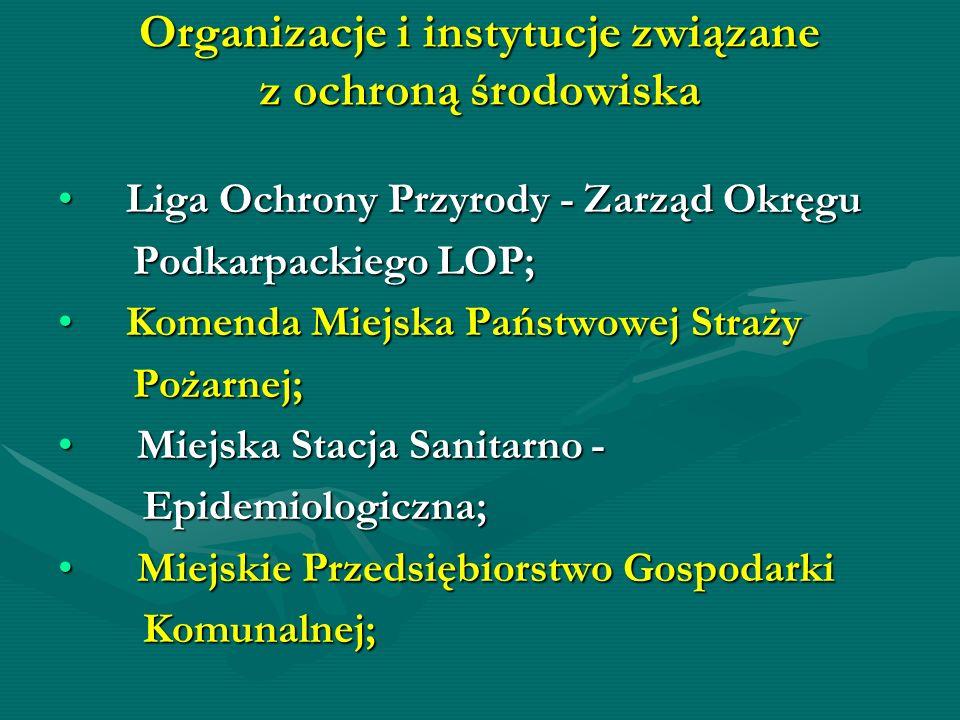 Organizacje i instytucje związane z ochroną środowiska Liga Ochrony Przyrody - Zarząd Okręgu Liga Ochrony Przyrody - Zarząd Okręgu Podkarpackiego LOP;