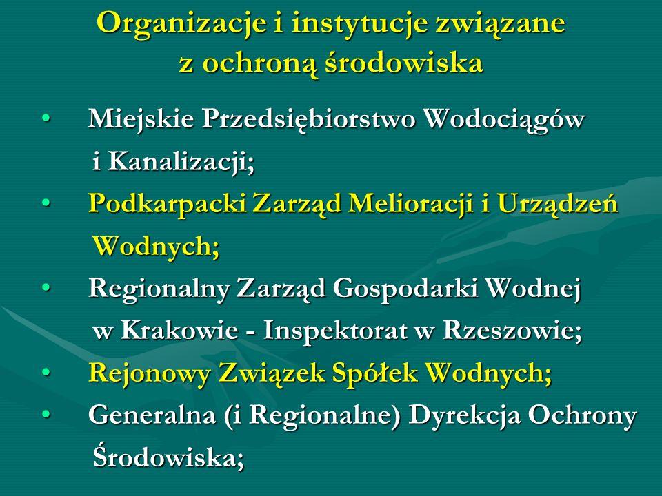 Organizacje i instytucje związane z ochroną środowiska Miejskie Przedsiębiorstwo Wodociągów Miejskie Przedsiębiorstwo Wodociągów i Kanalizacji; i Kana
