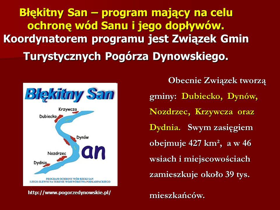 Błękitny San – program mający na celu ochronę wód Sanu i jego dopływów. Koordynatorem programu jest Związek Gmin Turystycznych Pogórza Dynowskiego. Ob