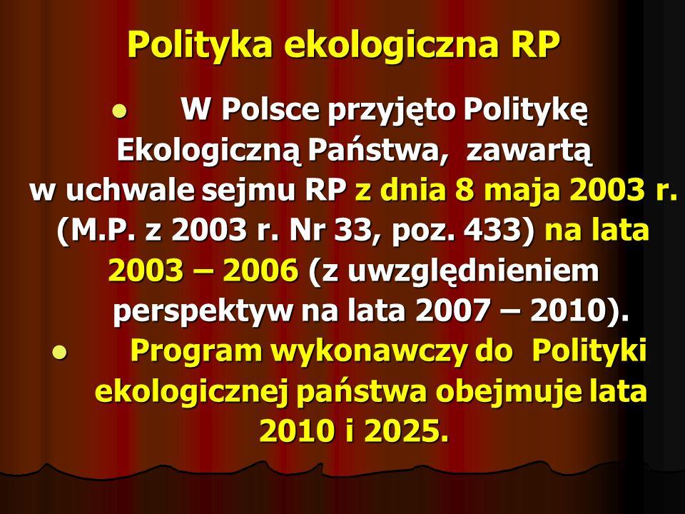 Polityka ekologiczna RP W Polsce przyjęto Politykę W Polsce przyjęto Politykę Ekologiczną Państwa, zawartą Ekologiczną Państwa, zawartą w uchwale sejm
