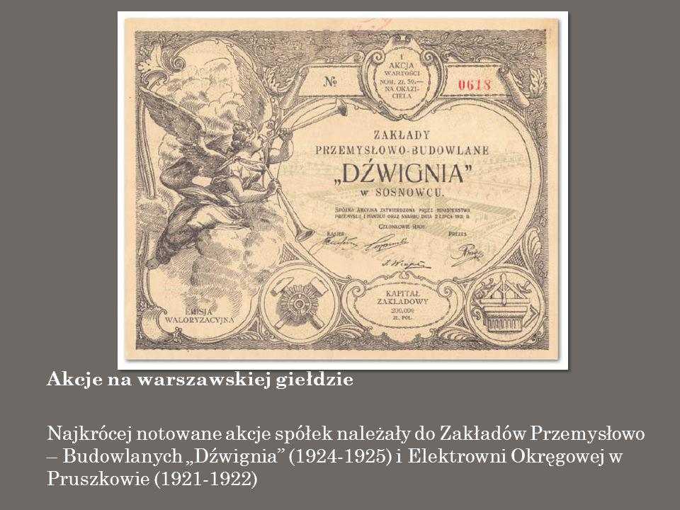 Akcje na warszawskiej giełdzie Najkrócej notowane akcje spółek należały do Zakładów Przemysłowo – Budowlanych Dźwignia (1924-1925) i Elektrowni Okręgo