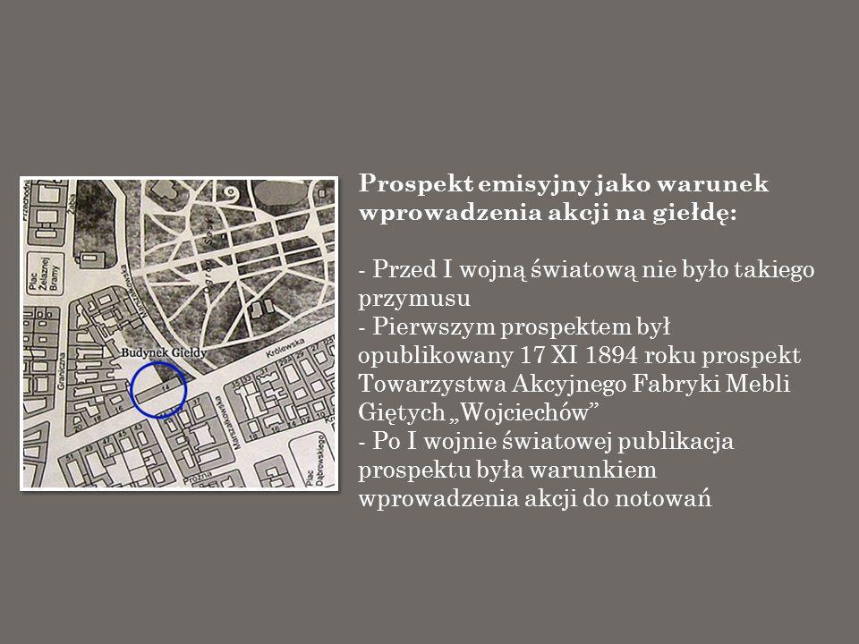 Akcje na warszawskiej giełdzie – źródła: 1.Stulecie giełdy warszawskiej (1817-1917) 2.
