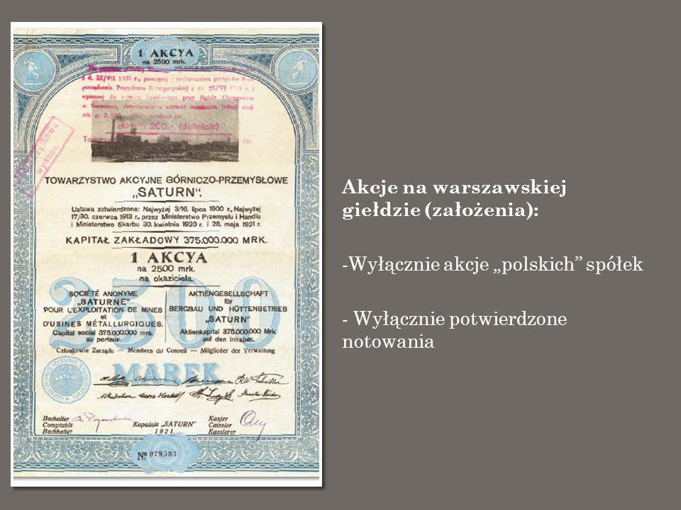 Akcje na warszawskiej giełdzie -Notowanych polskich spółek w latach 1817-1939 było 199 - Akcje 5 spółek notowane były dwukrotnie, z przerwą (Towarzystwo Kopalń i Zakładów Sosnowieckich, Towarzystwo Zakładów Metalowych B.