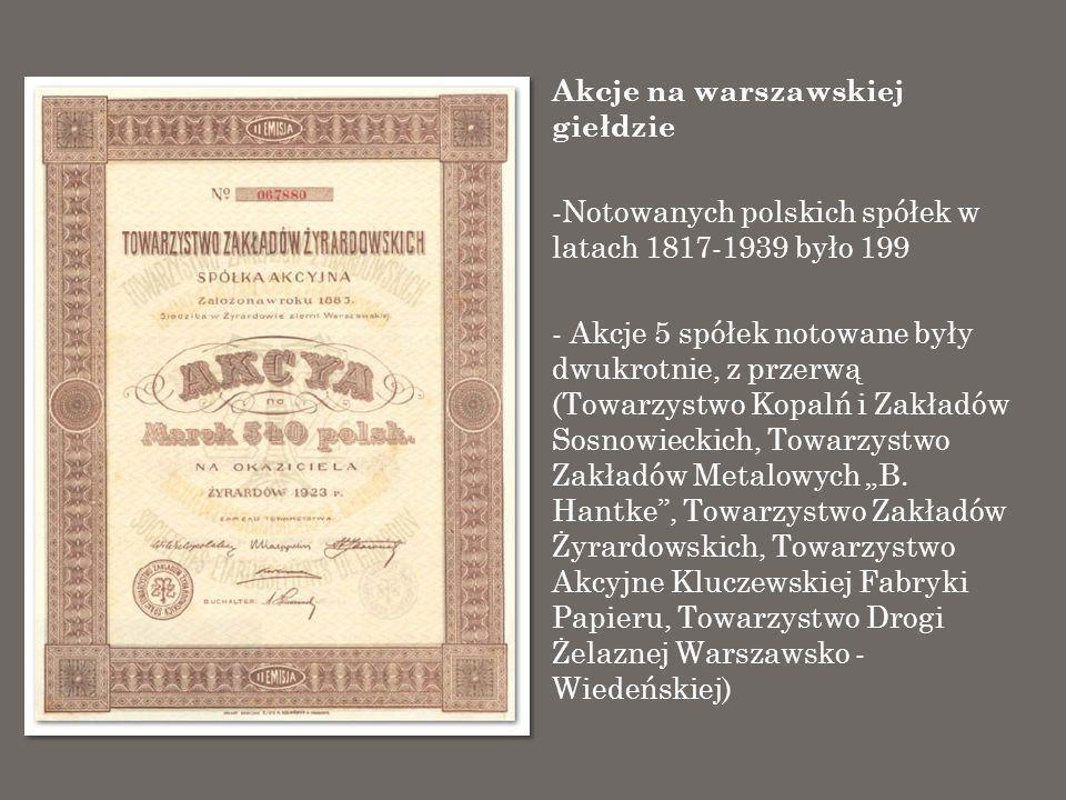 Akcje na warszawskiej giełdzie -Notowanych polskich spółek w latach 1817-1939 było 199 - Akcje 5 spółek notowane były dwukrotnie, z przerwą (Towarzyst