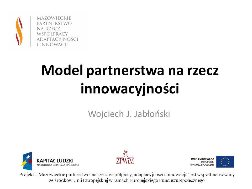Model partnerstwa na rzecz innowacyjności Wojciech J. Jabłoński Projekt Mazowieckie partnerstwo na rzecz współpracy, adaptacyjności i innowacji jest w