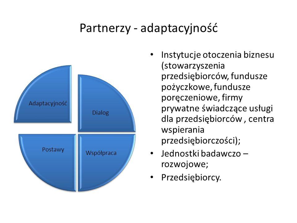 Partnerzy - adaptacyjność Instytucje otoczenia biznesu (stowarzyszenia przedsiębiorców, fundusze pożyczkowe, fundusze poręczeniowe, firmy prywatne świ
