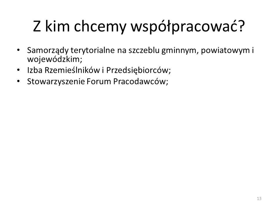 Samorządy terytorialne na szczeblu gminnym, powiatowym i wojewódzkim; Izba Rzemieślników i Przedsiębiorców; Stowarzyszenie Forum Pracodawców; Z kim ch