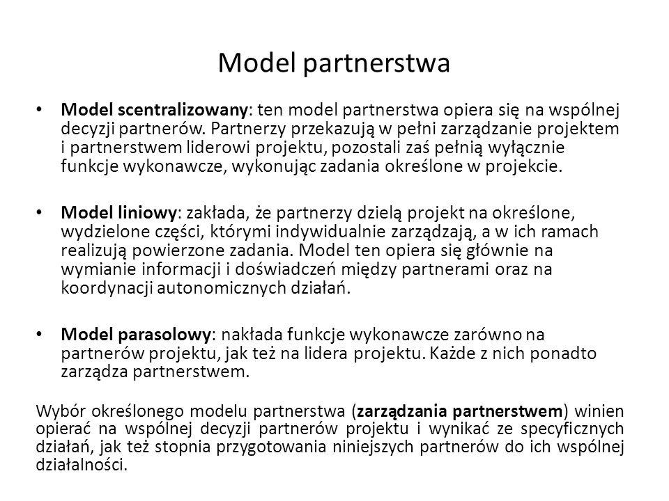 Model partnerstwa Model scentralizowany: ten model partnerstwa opiera się na wspólnej decyzji partnerów. Partnerzy przekazują w pełni zarządzanie proj