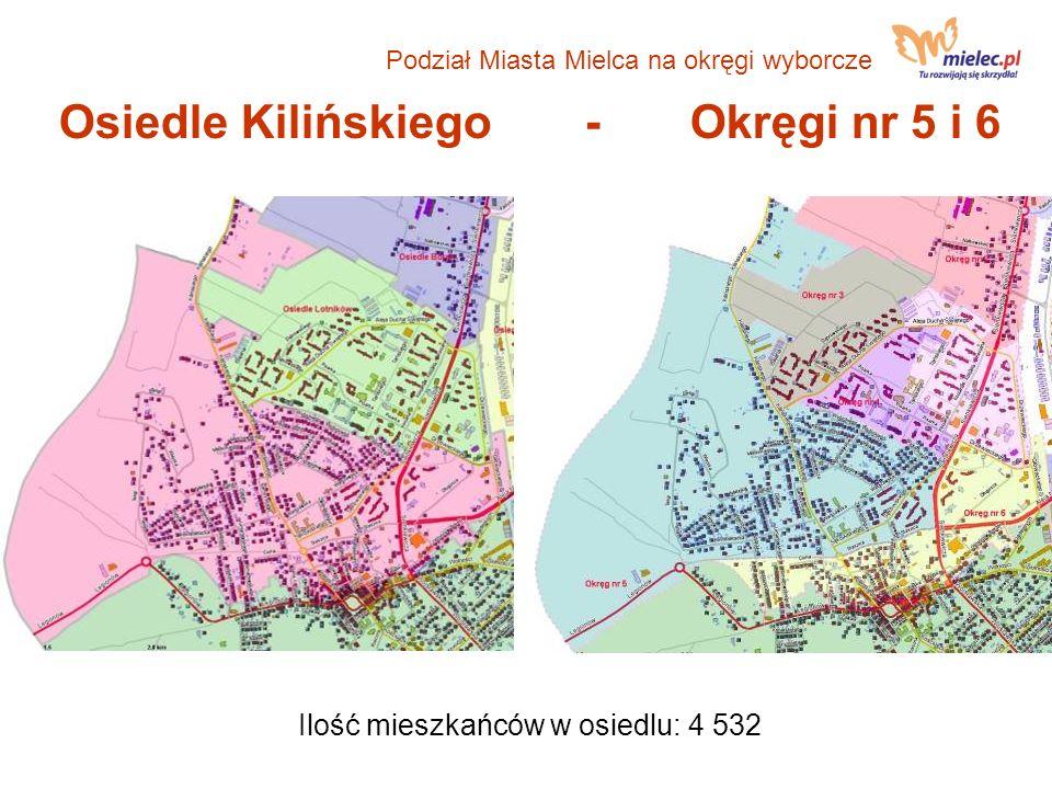 Osiedle Kilińskiego- Okręgi nr 5 i 6 Ilość mieszkańców w osiedlu: 4 532 Podział Miasta Mielca na okręgi wyborcze