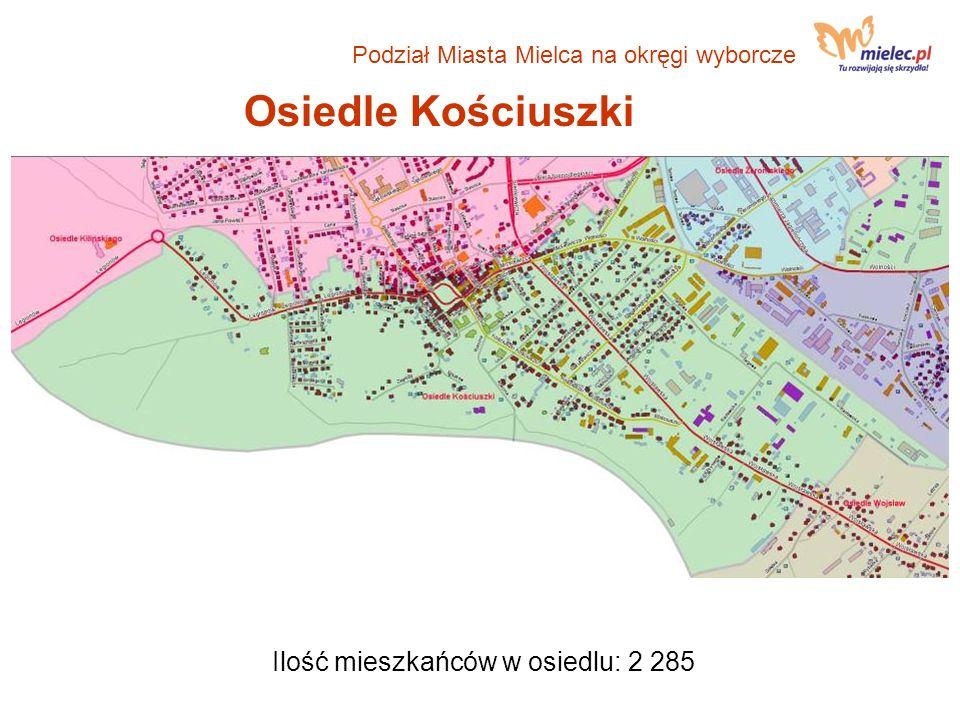 Osiedle Kościuszki Ilość mieszkańców w osiedlu: 2 285 Podział Miasta Mielca na okręgi wyborcze