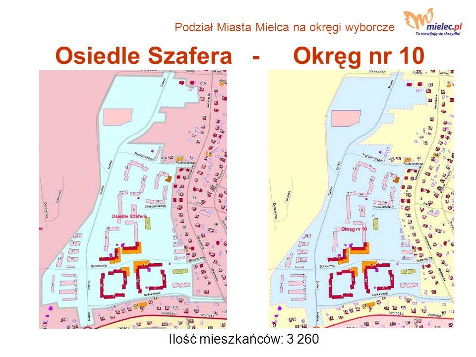 Osiedle Szafera - Okręg nr 10 Ilość mieszkańców: 3 260 Podział Miasta Mielca na okręgi wyborcze