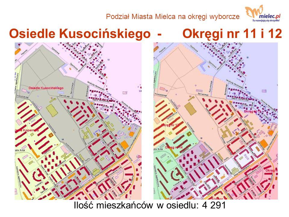Osiedle Kusocińskiego - Okręgi nr 11 i 12 Ilość mieszkańców w osiedlu: 4 291 Podział Miasta Mielca na okręgi wyborcze