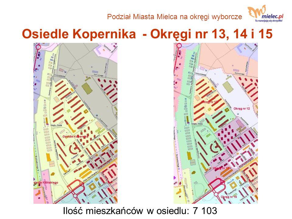 Osiedle Kopernika - Okręgi nr 13, 14 i 15 Ilość mieszkańców w osiedlu: 7 103 Podział Miasta Mielca na okręgi wyborcze