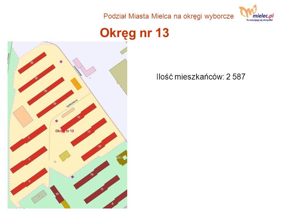 Okręg nr 13 Ilość mieszkańców: 2 587 Podział Miasta Mielca na okręgi wyborcze