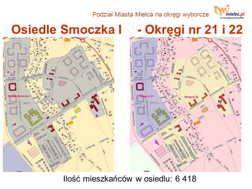 Osiedle Smoczka I- Okręgi nr 21 i 22 Ilość mieszkańców w osiedlu: 6 418 Podział Miasta Mielca na okręgi wyborcze
