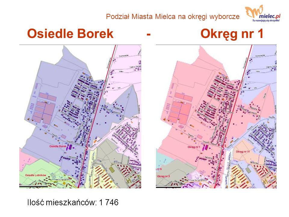 Osiedle Borek - Okręg nr 1 Ilość mieszkańców: 1 746 Podział Miasta Mielca na okręgi wyborcze