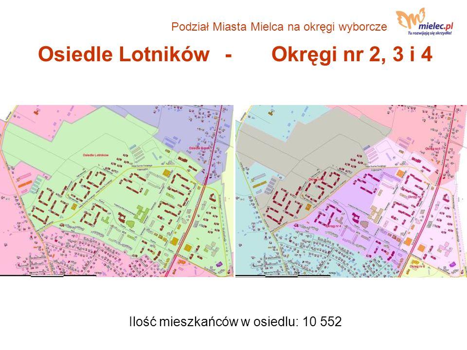 Osiedle Lotników- Okręgi nr 2, 3 i 4 Ilość mieszkańców w osiedlu: 10 552 Podział Miasta Mielca na okręgi wyborcze