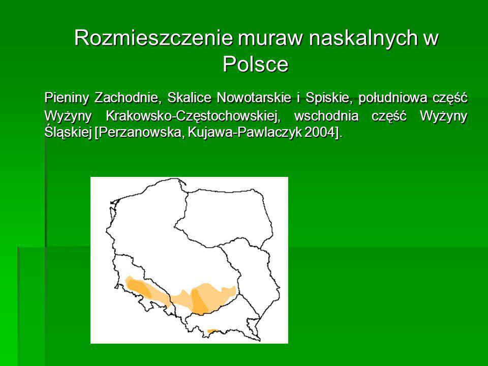 Rozmieszczenie muraw naskalnych w Polsce Pieniny Zachodnie, Skalice Nowotarskie i Spiskie, południowa część Wyżyny Krakowsko-Częstochowskiej, wschodni