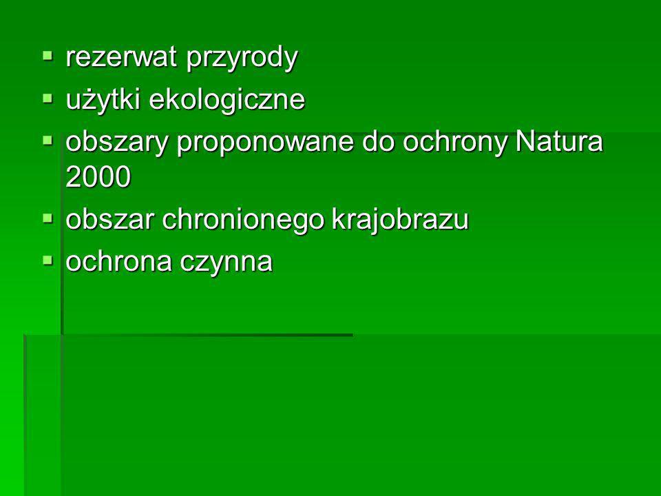 rezerwat przyrody rezerwat przyrody użytki ekologiczne użytki ekologiczne obszary proponowane do ochrony Natura 2000 obszary proponowane do ochrony Na