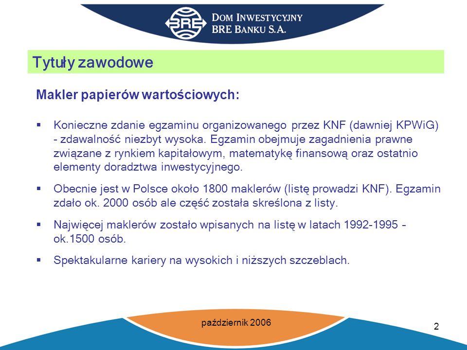 październik 2006 3 Tytuły zawodowe Makler papierów wartościowych: Potoczne rozumienie zawodu maklera papierów wartościowych (prasa, telewizja itp.).