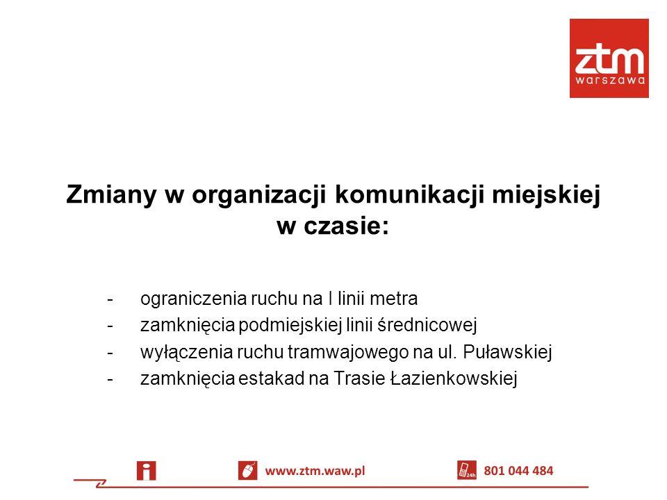 Ograniczenie ruchu na I linii metra Termin (zgodnie z wnioskiem wykonawcy): 29.06 (godz.