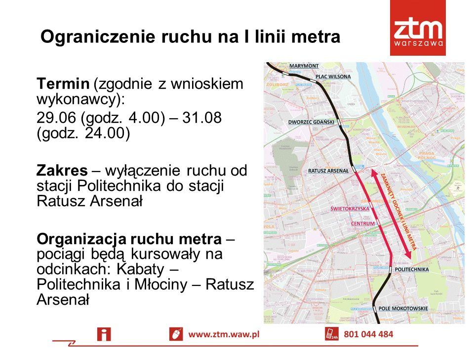 Komunikacja zastępcza tramwajowa Linia 75 Trasa: Metro Marymont – pl.