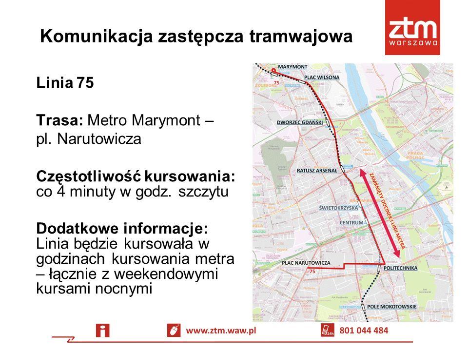 Komunikacja zastępcza tramwajowa Linia 74 Trasa: Metro Marymont – Żerań Wschodni (29–30.06 Piaski – Żerań Wschodni) Częstotliwość kursowania: co 10 minut w godz.