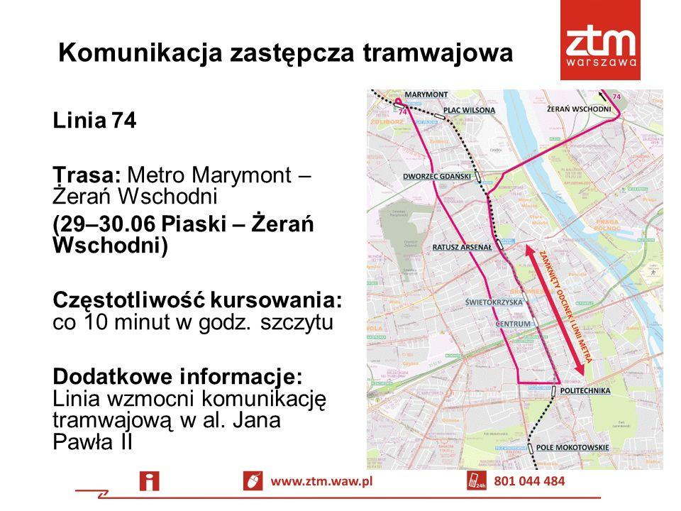 Komunikacja zastępcza autobusowa Linia Z-1 Trasa: Metro Marymont – Metro Politechnika Częstotliwość kursowania: co 5 minut w godz.