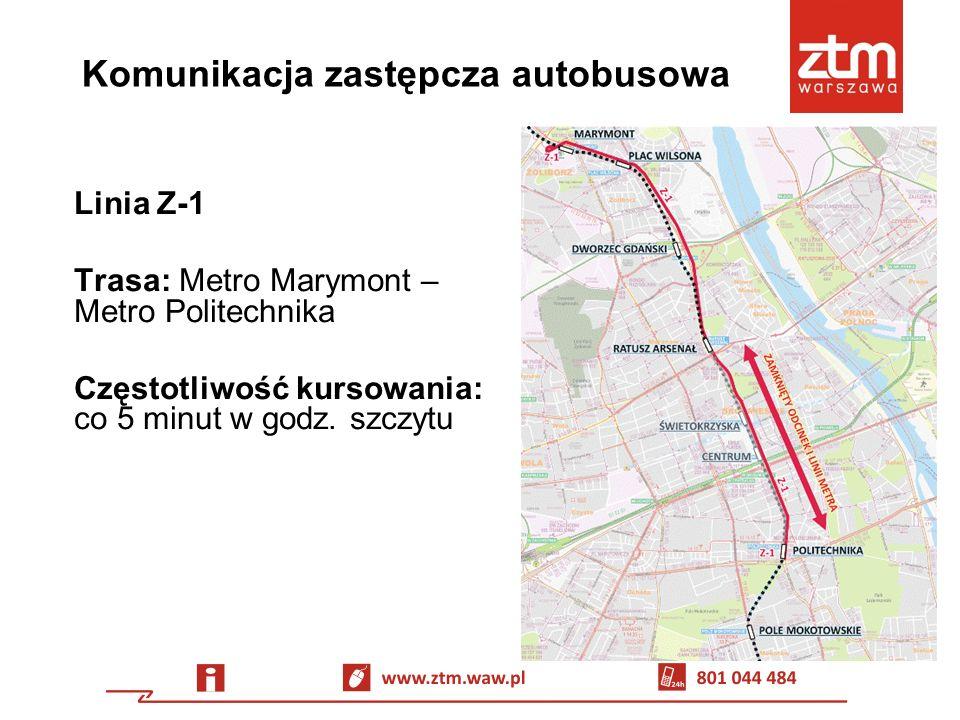 Komunikacja zastępcza autobusowa Dodatkowo W dni powszednie, w godzinach porannego szczytu, trasy linii kończących kursy na pl.